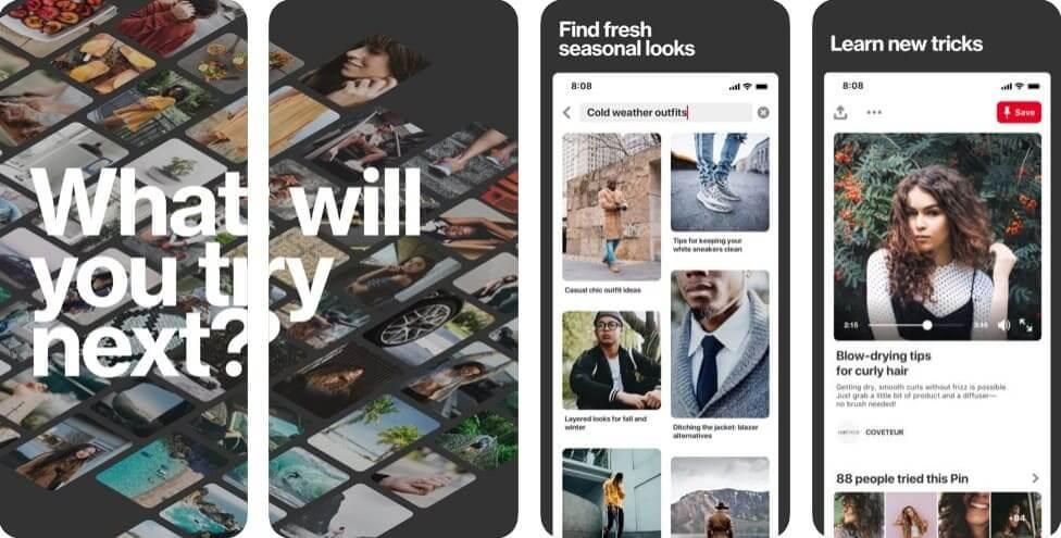 Приложение для написания книги: Pinterest