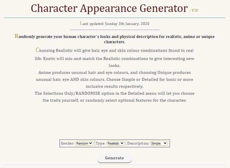 Генератор внешности персонажа: Rangen