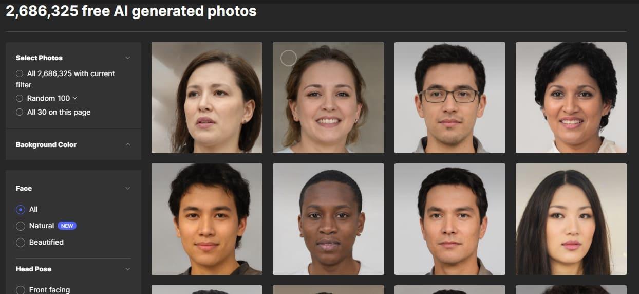 Генератор случайных лиц: Generated.photos
